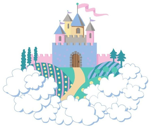 Mini princess castle paint by number wall mural for Disney princess castle mini mural