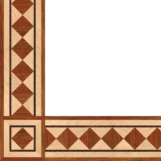 Oshkosh designs wild iris inlay border and corner for Hardwood floor designs borders