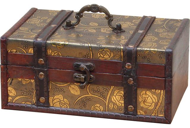 Decorative leather treasure trunk box contemporary - Decorative trunks and boxes ...
