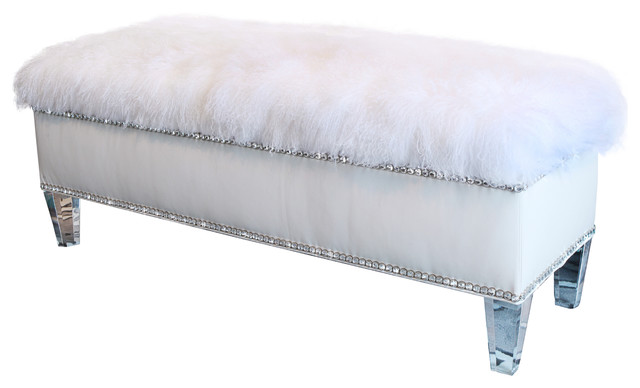 White Leather Storage Bench Contemporary Upholstered Benches By Diamond Head Upholstery Tack