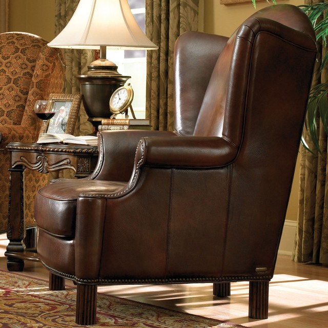 Aico Furniture Windsor Court Leather Wing Chair In Brown 70936 Brown 54 Transitional