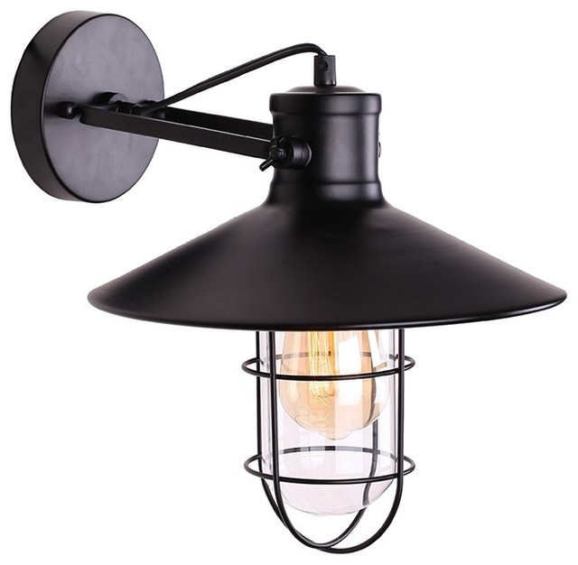 Industrial Iron Wall Sconces : Knox Iron Wall Sconce - Industrial - Wall Sconces - by Lamps Next