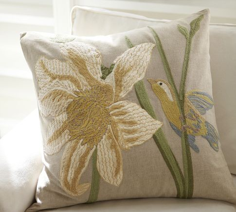 Bird And Flower Embroidered Pillow Cover - Traditional - Decorative Pillows - by Pottery Barn