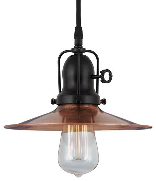 THE SPOKED SPEAKEASY COPPER & BRASS CORD HUNG CEILING LIGHT Farmhouse