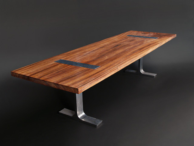 solid 10 39 perota dining table w custom cast aluminum legs