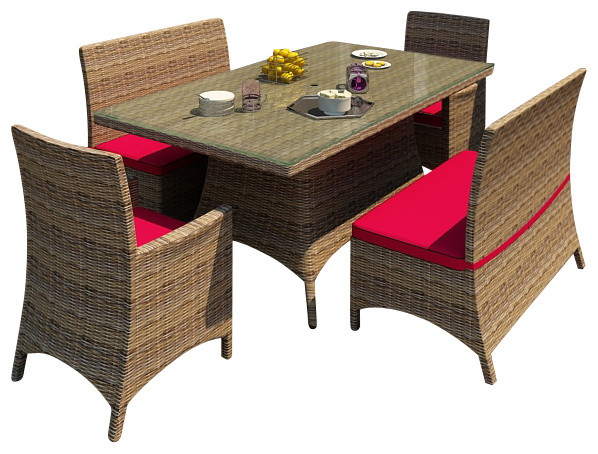 Cypress 5 Piece Modern Patio Dining Set Contemporary