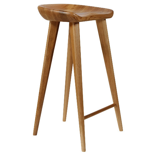 Tractor contemporary carved wood bar stool walnut