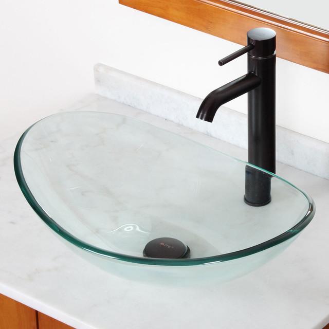 Oval Glass Vessel Sink : ... Oval Glass Vessel Sink/ Faucet Combo - Contemporary - Bathroom Sinks