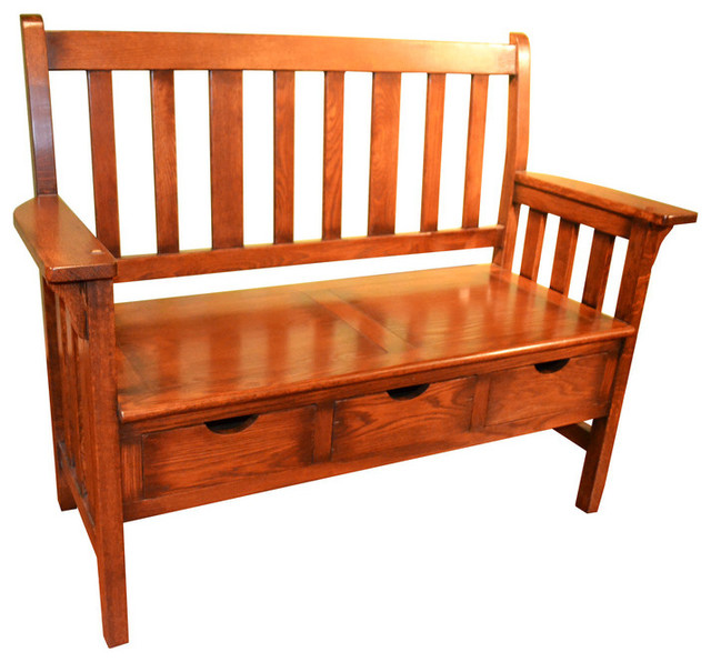 Mission Oak Storage Bench Craftsman Accent And Storage Benches By Crafters And Weavers
