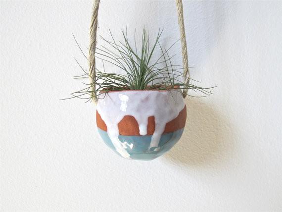 Terracotta Hanging Ceramic Pinch Pot By Mud Puppy