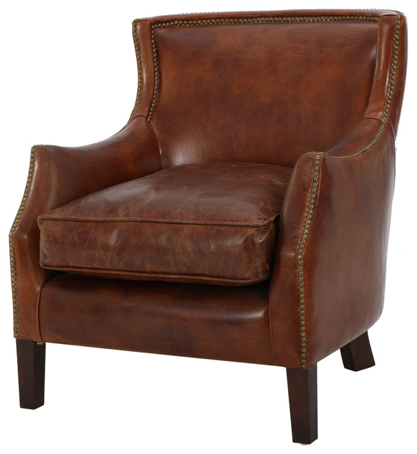 Tan Leather Accent Chair: Tiller Top Grain Vintage Design Brown Leather Club Chair