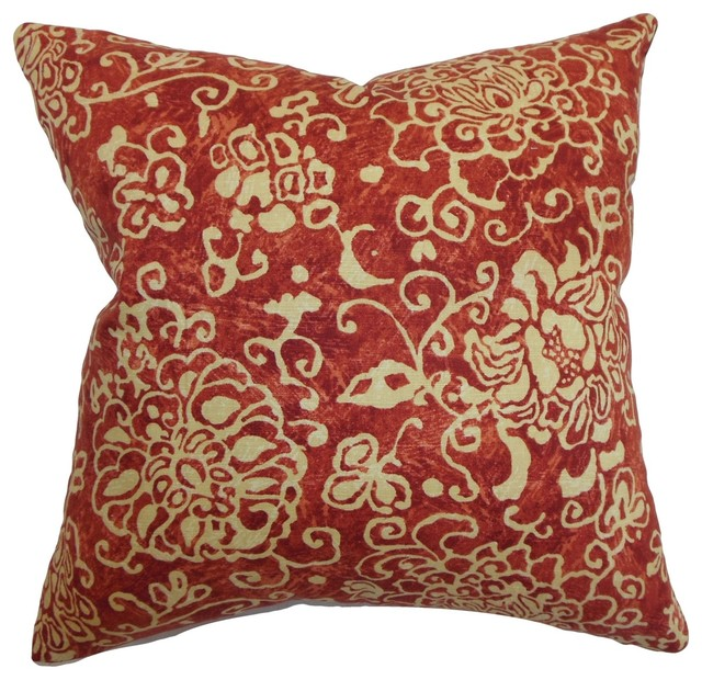 Traditional Accent Pillows : Jaffna Floral Pillow Russett - Traditional - Decorative Pillows - by The Pillow Collection Inc.
