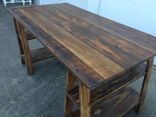 Barn Wood Sawhorse Desk - Rustic - Tools And Equipment ...