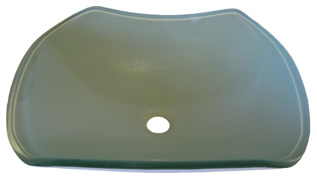 Sink Blank : BLANK Shaped White Frosted Glass Vessel Sink, 20 Inches Wide - Modern ...