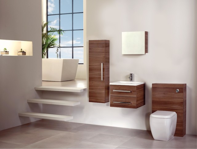 walnut bathroom furniture modern bathroom cabinets shelves london by plumbonline