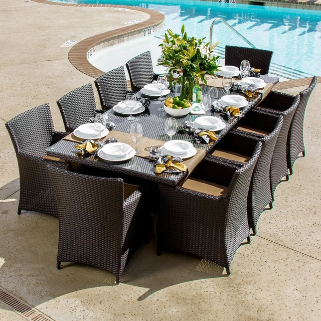 Avery Island 10-Person Resin Wicker Patio Dining Set With