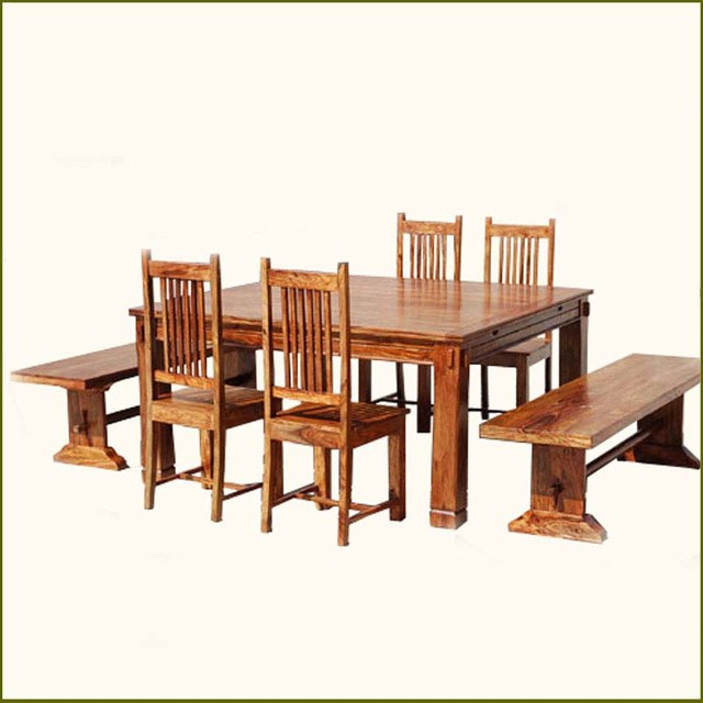 Santa Cruz Mission Square 7 pc Oak Table Chair Set with 2  : traditional dining sets from www.houzz.com.au size 640 x 640 jpeg 59kB