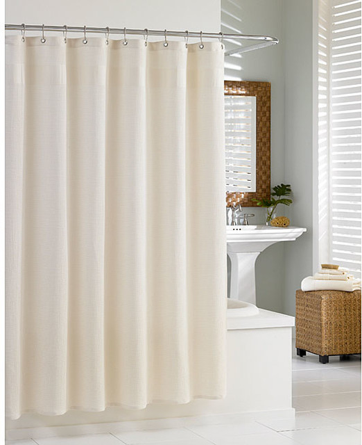 Cotton Waffle Natural Shower Curtain - Contemporary - Shower Curtains ...