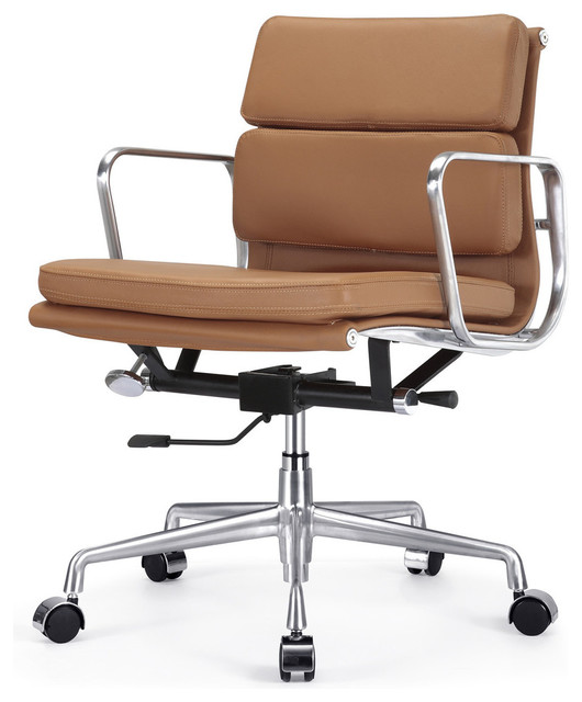 Italian leather office chair brown contemporary for Home office chairs leather