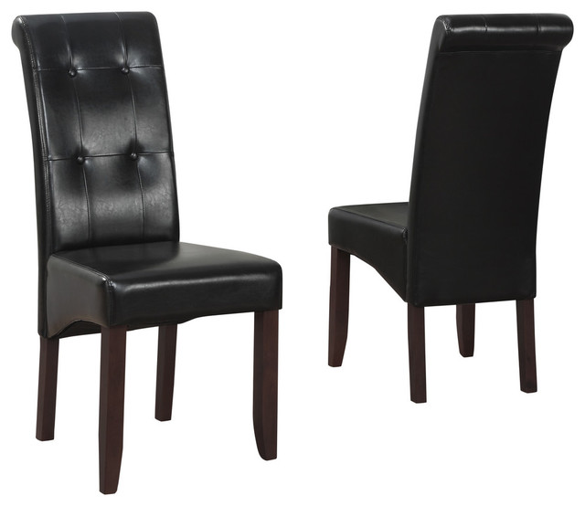 Cosmopolitan Tufted Parson Chairs Set Of 2 Traditional