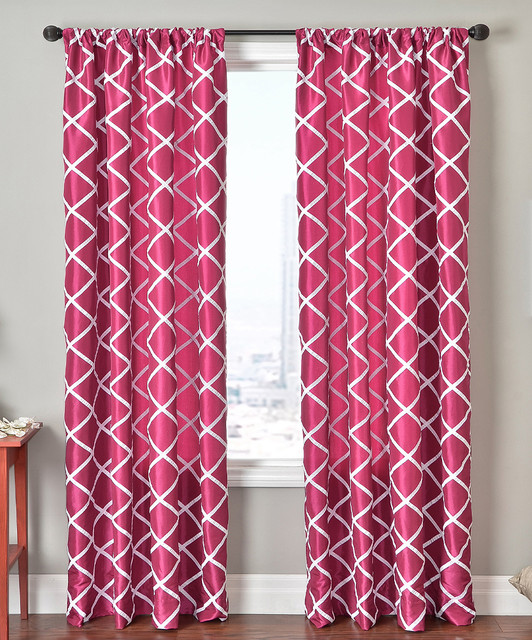 hot pink white sambuca rod pocket curtain panel modern curtains