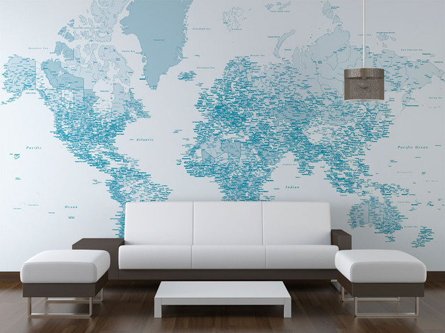 Wallpaper Map Design : Blue world map wallpaper design london by