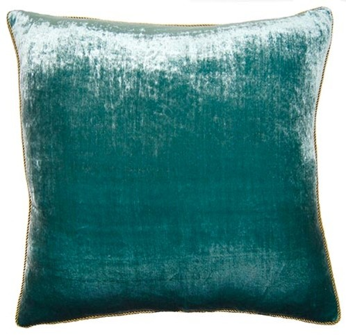 Teal Decorative Bed Pillows : Peacock Pillow, Teal Velvet - Contemporary - Decorative Pillows - by Square Feathers, Rhome ...