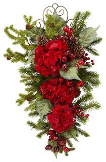 Nearly Natural 27b Christmas Hydrangea Teardrop