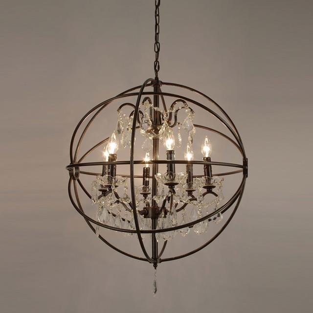 Foucaults Orb Crystal Iron Six Light Chandelier Modern Chandeliers By Overstock Com