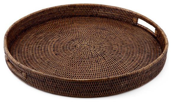 Rattan Tray W Handle Round 26 Contemporary Baskets By Origin Crafts