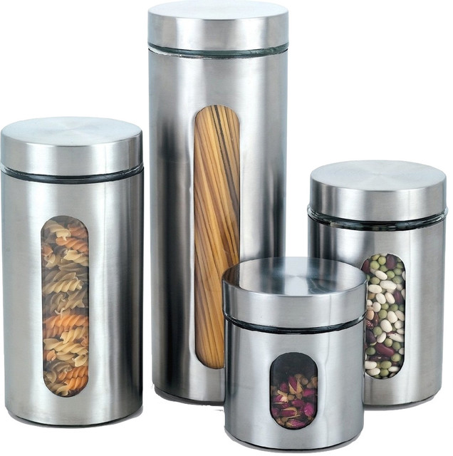 cook n home stainless canisters with windows set of 4