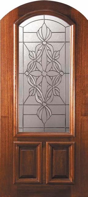 Prehung Single Door 80 Wood Mahogany Evangeline Arch Top