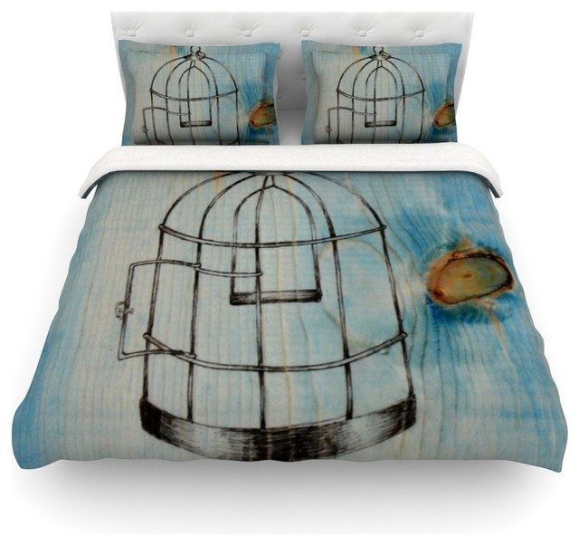 "Brittany Guarino ""Bird Cage"" Duvet Cover Woven Queen Farmhouse"