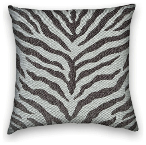 Charcoal Grey Decorative Pillows : Charcoal Grey Chenille Zebra Design Throw, 18x18 Pillow Cover - Traditional - Decorative Pillows ...
