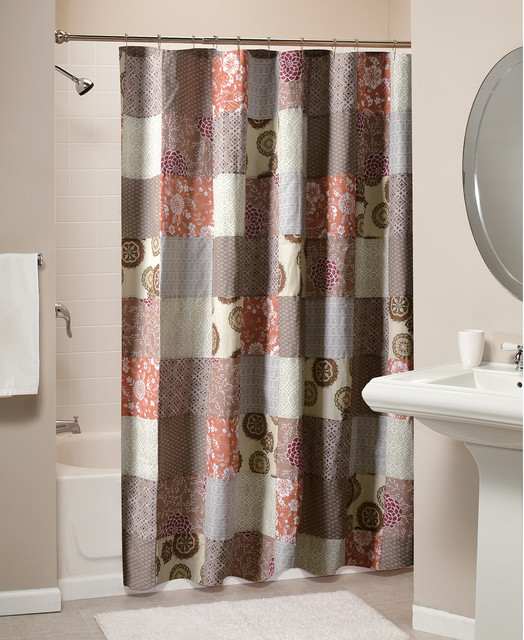 Stella Patchwork Cotton Shower Curtain Contemporary Shower Curtains By