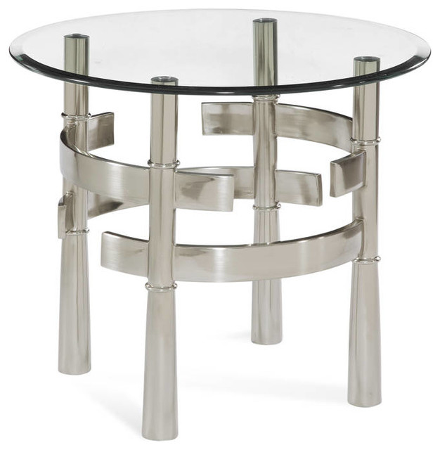 Contour brushed nickel metal glass round end table for Brushed nickel coffee table