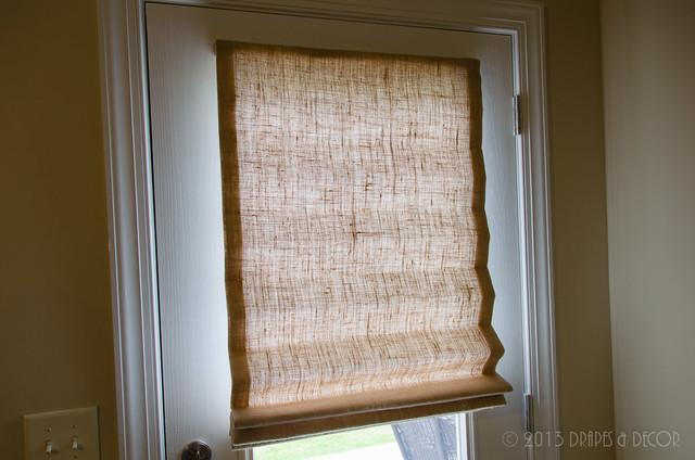 Burlap Roman Shades Exterior Door Alpharetta Ga