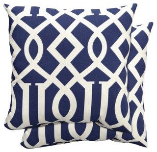 2 Piece Toss Pillow Set In Blue Fretwork Traditional