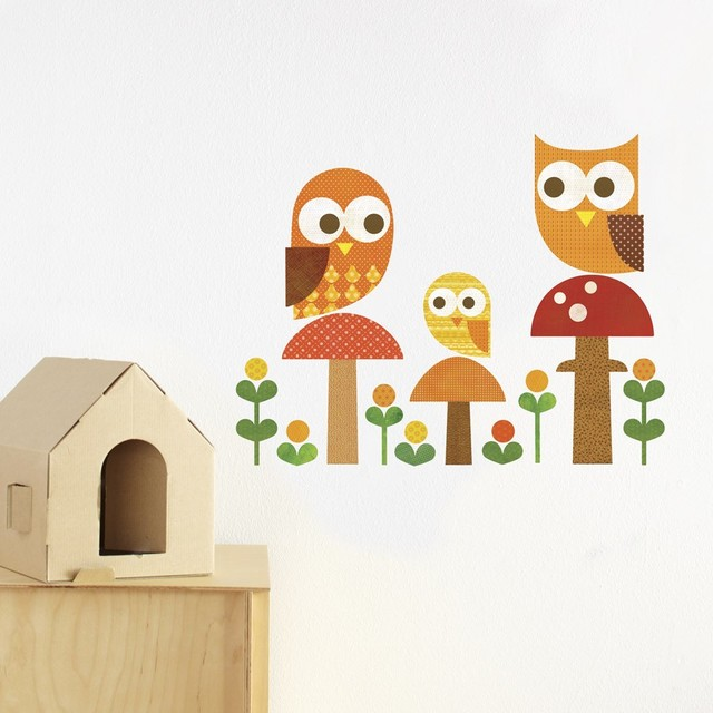 Modern Family Wall Decor : Petit collage owl family fabric wall decal modern
