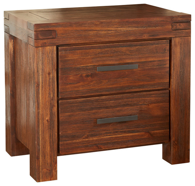 Meadow 2 Drawer Wood Nightstand Brick Brown