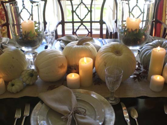 White pumpkin thanksgiving tablescape for Elegant table setting for thanksgiving
