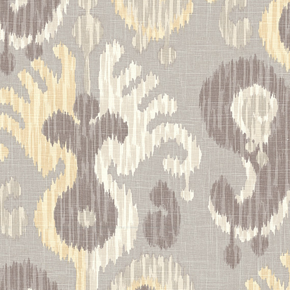 Gray Yellow Giant Ikat Linen Fabric Contemporary Drapery Fabric By Loom Decor