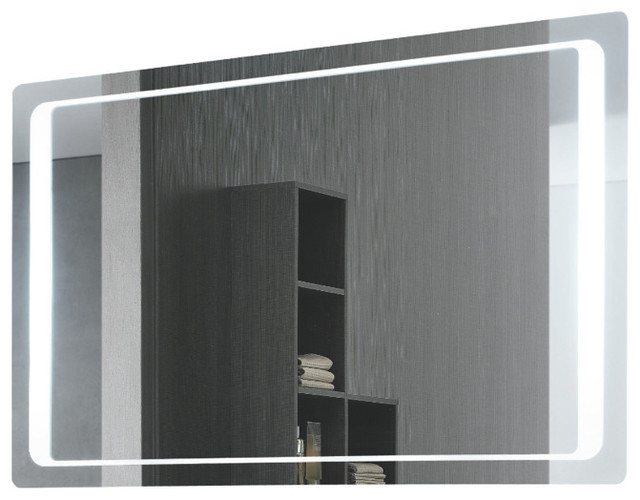 Rectangular Back Lighted Mirror Contemporary Bathroom Mirrors