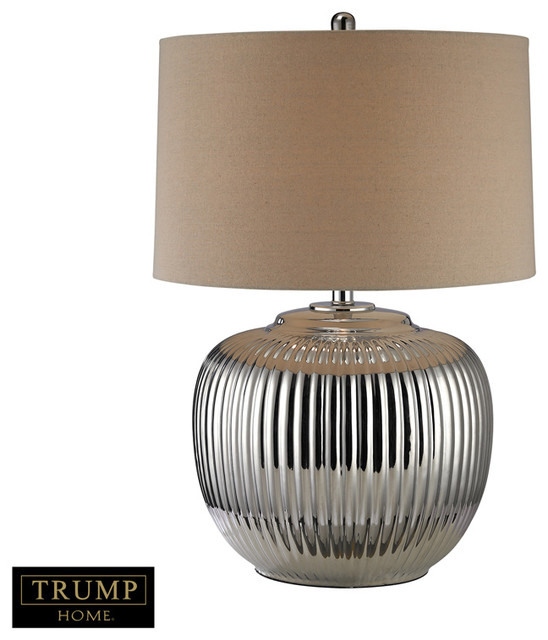 ... Oversized Ribbed Ceramic Table Lamp, Silver transitional-table-lamps