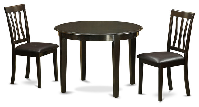 3 Pc Kitchen Table Set-Small Round Table And 2 Kitchen
