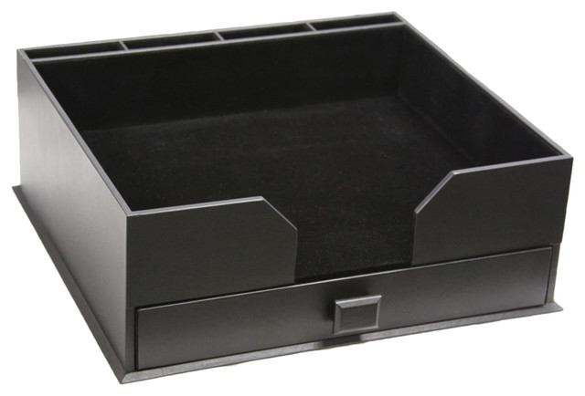 Black leather pad holder and organizer combo - Black leather desk organizer ...