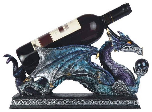 14 5 Inch Blue And Purple Dragon Holding Orb Wine Holder