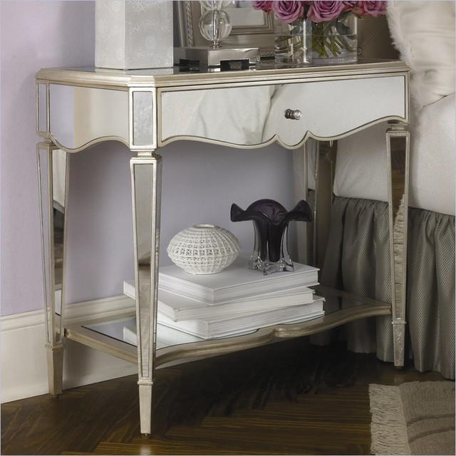 Jessica Mcclintock Couture Mirrored Nightstand In Silver Leaf By American Drew Contemporary