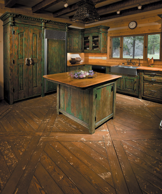 Pecos wilderness cabin rustic kitchen islands and for Rustic home albuquerque