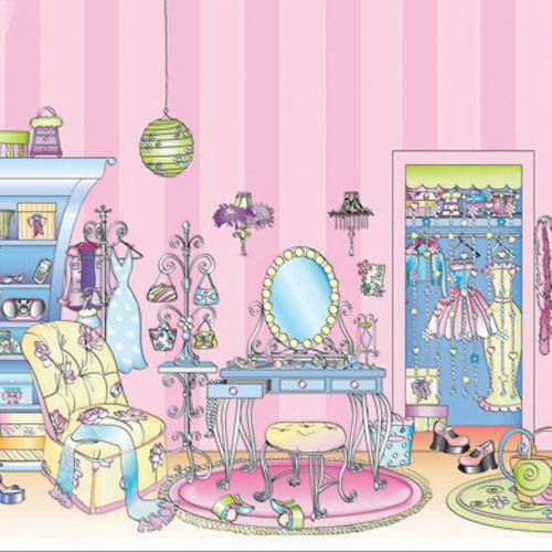 girls pink dressing room large prepasted wall mural. Black Bedroom Furniture Sets. Home Design Ideas
